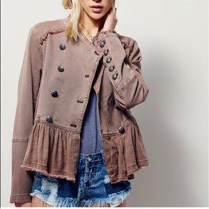 Free people khaki military ruffle jacket size XS